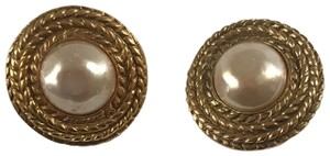 Chanel Chanel Costume Pearl Round Earrings with Golden Woven Pattern