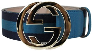 Gucci Belt w/Interlocking G Buckle 114876 Blue Webbing/4174 105/42
