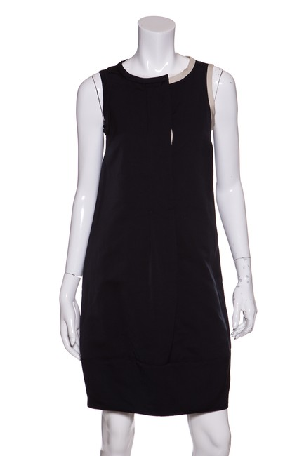 Item - Navy Sleeveless Color Blocked Mid-length Short Casual Dress Size 4 (S)