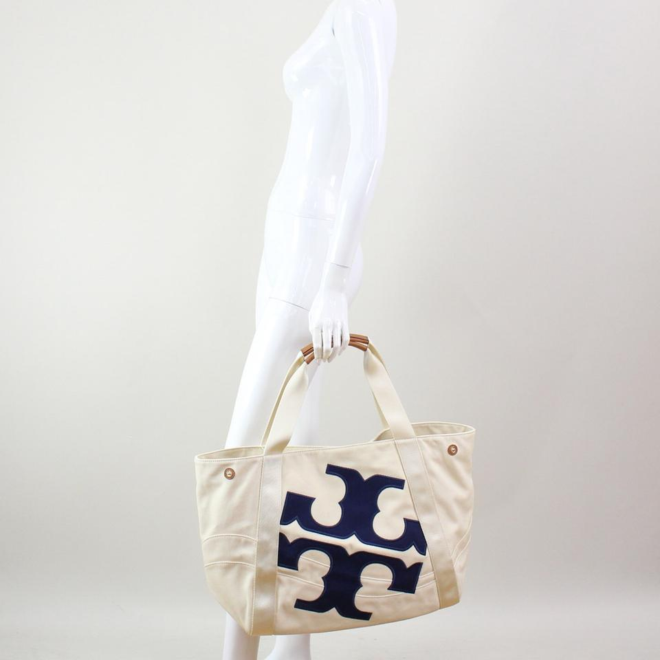 083ea0e7387 Tory Burch New Logo Large Beach Carryall Travel Ivory Navy Canvas Tote