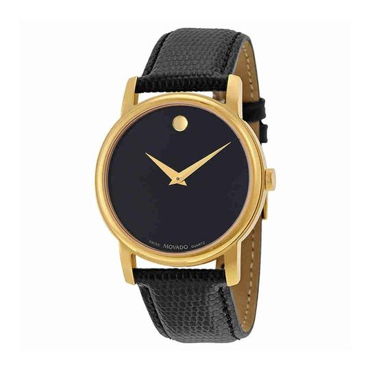 Movado Movado Museum Black Dial Gold Black Leather Womens 2100006 Watch