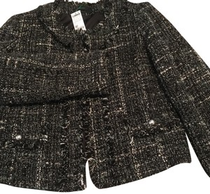 United Colors of Benetton black w/ grey, white, charcoal boucle thread Blazer