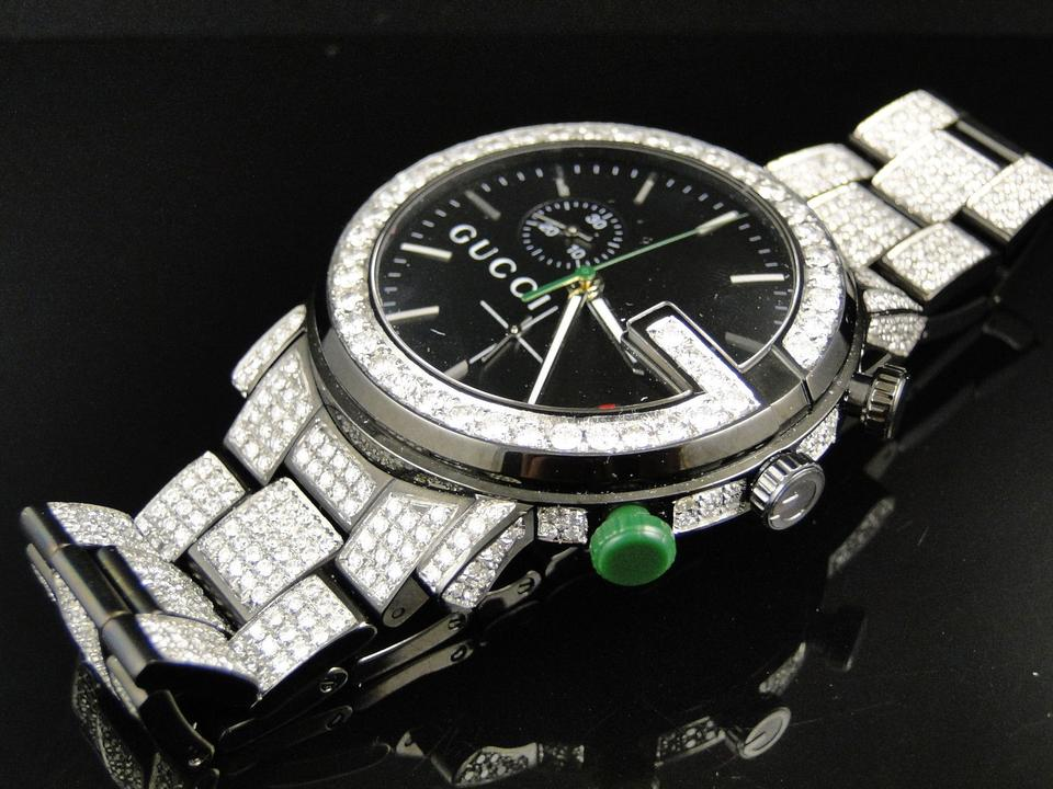 0d6955d1643 Gucci Black Pvd Fully Iced Out Mens Diamond Ya101331 12.0 Ct Watch ...