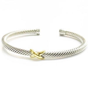 "David Yurman BEAUTIFUL!!! David Yurman 18 Karat Yellow Gold and Sterling Silver ""X"" Bangle Bracelet"