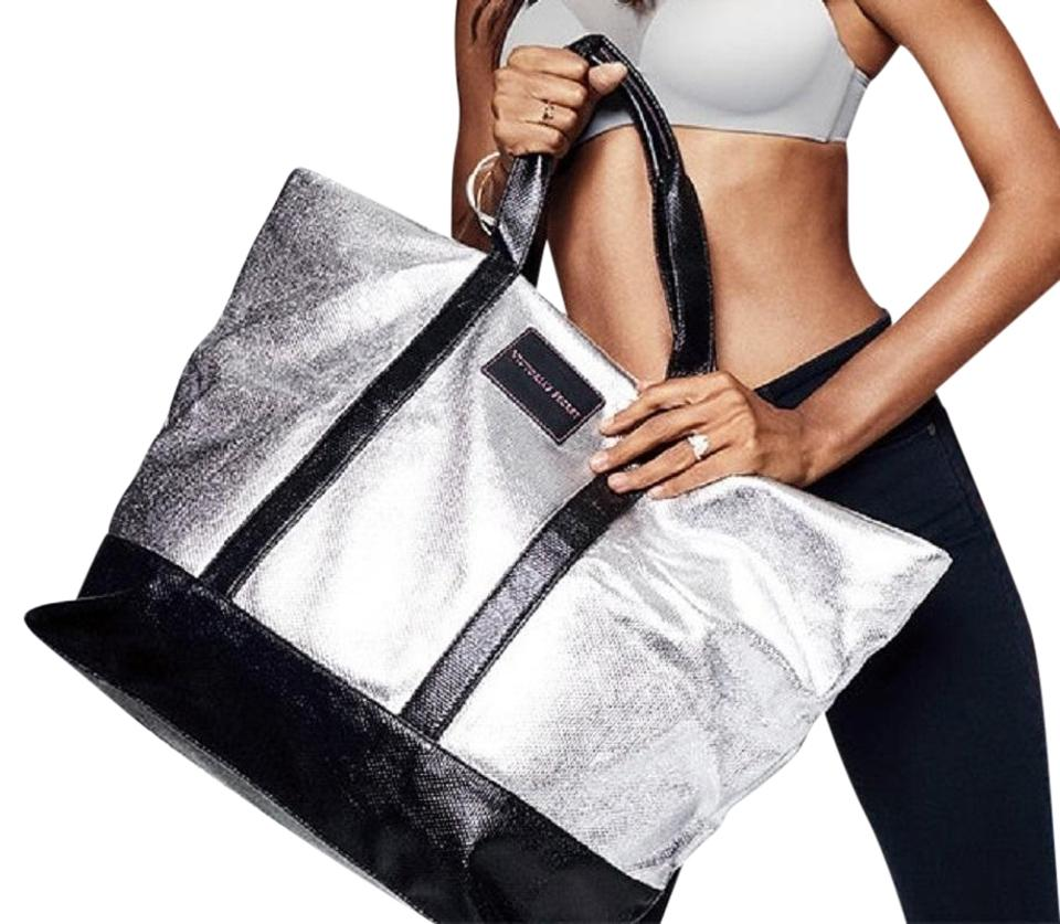 5bcc11763db3e Victoria's Secret 2017 Getaway Silver Black Canvas Weekend/Travel ...