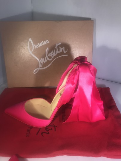 Christian Louboutin Stiletto Douce Du Desert Ankle Tie Bow Satin Ultra Rose (Bright Pink) Sandals