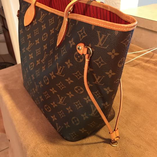louis vuitton monogram with red interior canvas and leather neverfull tote tradesy