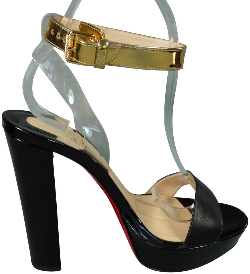 0d23098c5304 Christian Louboutin Black Gold Clear Cherry 140 Patent Leather Ankle ...