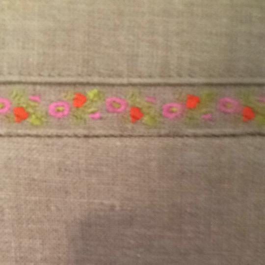 Kate Spade Natural Hot Pink Satin Floral Embroidery Snap Closure Tote in Linen