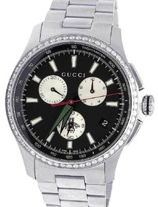 Gucci G-Timeless Stainless Steel Chrono 44MM Diamond Watch YA126267 1.75 Ct