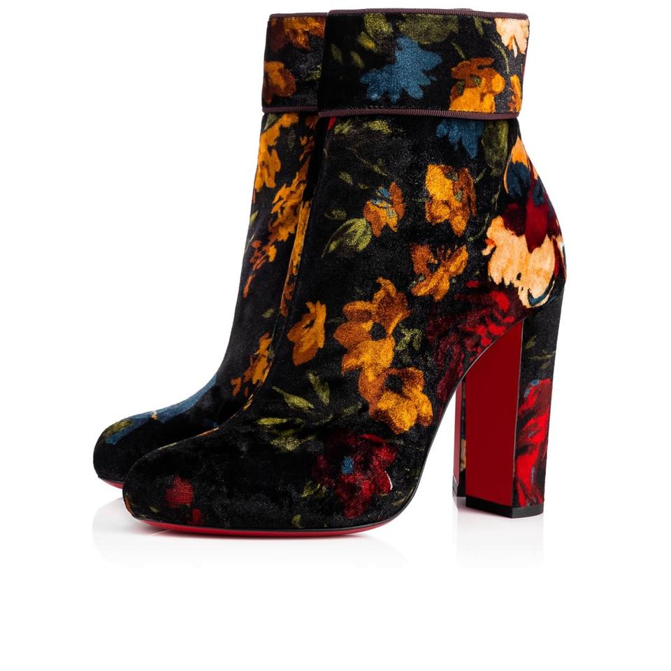 lowest price f0aa3 7dc30 Christian Louboutin Black Moulamax 100 Red Velvet Floral Heel Boots/Booties  Size EU 36.5 (Approx. US 6.5) Regular (M, B) 49% off retail