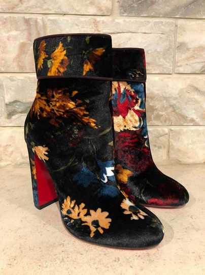 Christian Louboutin Moulamax Stiletto Floral Ankle Pigalle black Boots