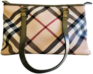 Burberry Lightweight Metallic Tote in Beige with multi color stripes