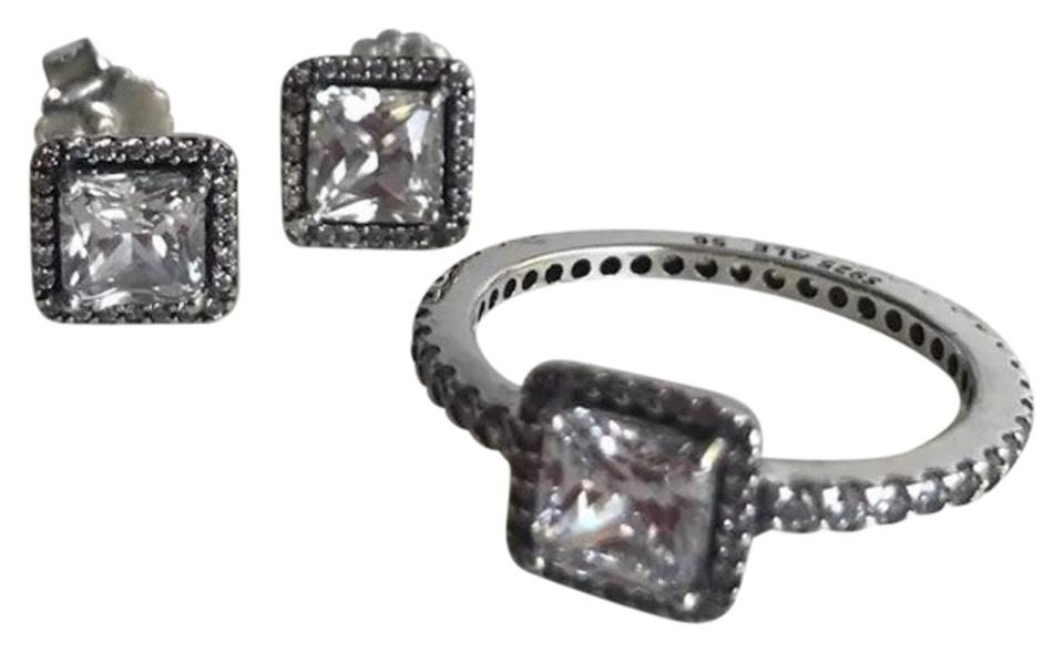 ee39e08cee582 PANDORA Silver Timeless Elegance Cz Size 7.5 and Earrings Set Ring 32% off  retail