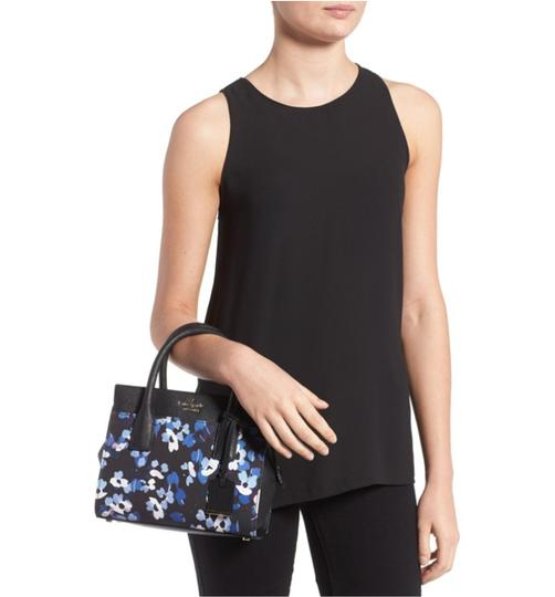 Kate Spade Cameron Street Mini Candace Floral Flower Satchel in Black Blue Multi