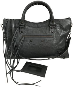 Balenciaga Leather City Lambskin Satchel in Dark Gray