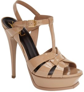 Saint Laurent Tribute Tribute Sandles Beige USE COUPON JAN50 Dark Nude Patent Platforms