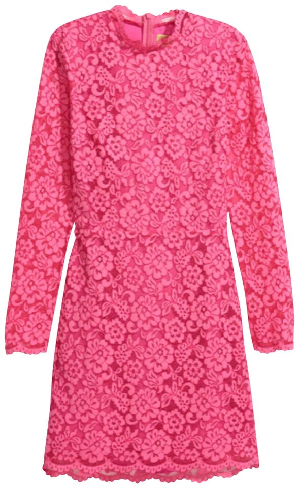 H&M Pink Lace Fitted Short Night Out Dress Size 10 (M) - Tradesy