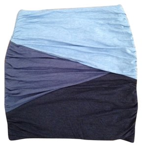 Torn by Ronny Kobo Ruched Detail Geometric Mini Skirt Blue