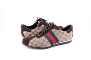 Gucci Brown * Vintage Gg Guccissima Green Red Web Sneakers Shoes