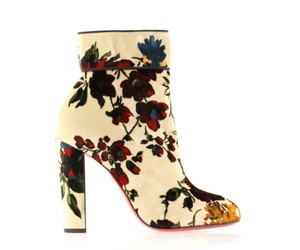 Christian Louboutin Moulamax Stiletto Floral Ankle Beige Boots