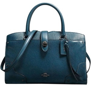 Coach Mercer 30 Leather Black Satchel in Dark Mineral