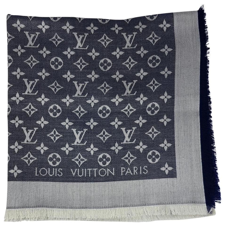 louis vuitton blu denim scarf wrap tradesy. Black Bedroom Furniture Sets. Home Design Ideas