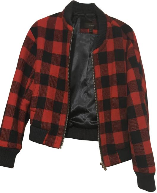 Item - Red and Navy Buffalo Check Wool Bomber Jacket Size 10 (M)