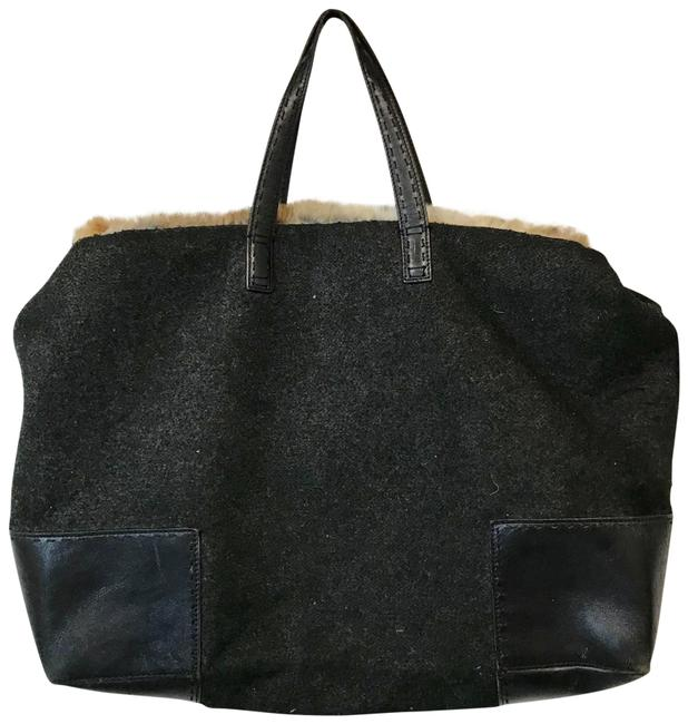 Cole Haan Fur and Leather Gray Wool Satchel Cole Haan Fur and Leather Gray Wool Satchel Image 1