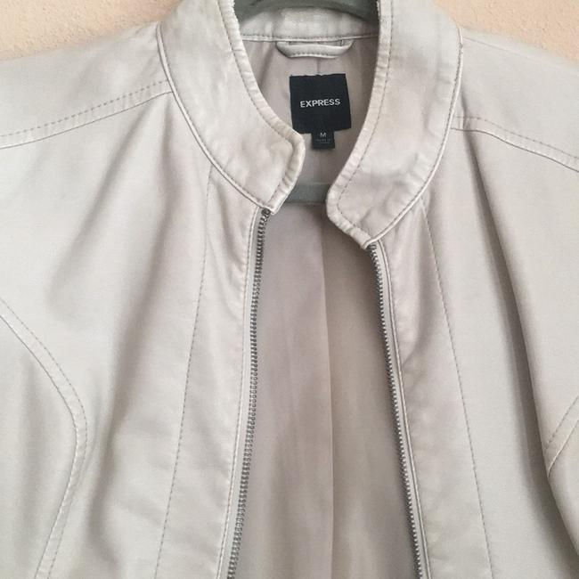 Express off white Leather Jacket Image 3