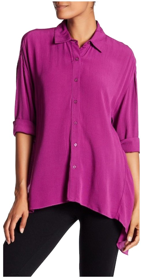 Ro de magenta gauze sharkbite hem shirt button down top for Gauze button down shirt