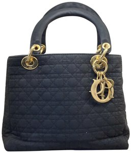 Dior Christian Canvas Small Lady Tote in black
