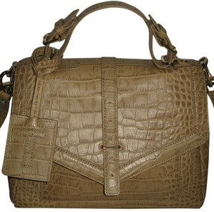 Tory Burch 797 Leather Shoulder Satchel in Tan