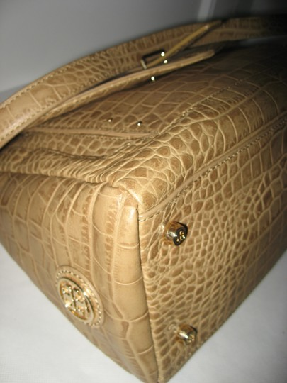 Tory Burch 797 Leather Shoulder Satchel in Tan Image 8