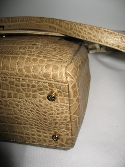 Tory Burch 797 Leather Shoulder Satchel in Tan Image 9