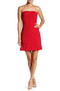 Aidan Mattox Lace Strapless Pleated Mini Dress