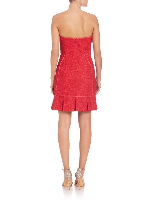 Aidan Mattox Lace Strapless Pleated Mini Dress Image 3