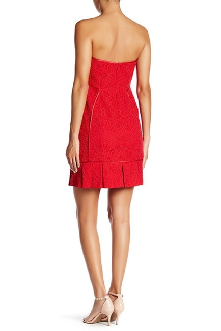 Aidan Mattox Lace Strapless Pleated Mini Dress Image 5