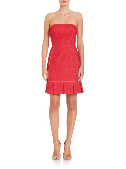 Aidan Mattox Lace Strapless Pleated Mini Dress Image 6