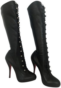 Christian Louboutin Thigh High Over The Knee Ankle Black Silver Buttons Boots