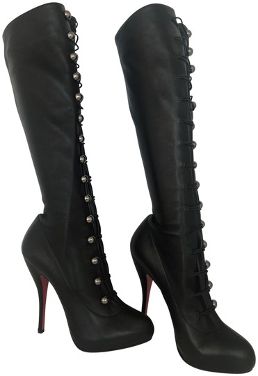 Preload https://img-static.tradesy.com/item/22671830/christian-louboutin-black-silver-buttons-38-it-new-alta-fifre-corset-platform-knee-high-heel-red-lad-0-3-540-540.jpg