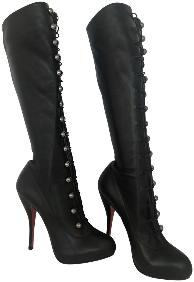 2ac63ce1a82 Christian Louboutin Black Silver Buttons New Alta Fifre Leather Corset  Platform Knee High Heel Red Lady Italy Boots/Booties Size EU 38 (Approx. US  8) ...