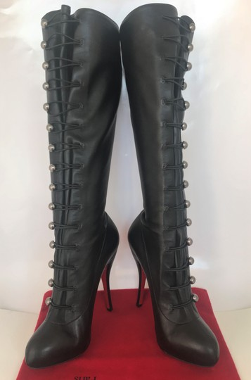 Christian Louboutin Thigh High Over The Knee Ankle Black Silver Buttons Boots Image 2