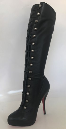 Christian Louboutin Thigh High Over The Knee Ankle Black Silver Buttons Boots Image 4