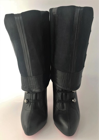 Christian Louboutin Thigh High Over The Knee Ankle Black Silver Buttons Boots Image 9