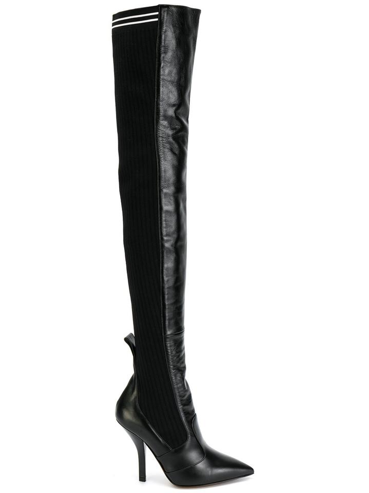 d9a951df11d Fendi Black Rockoko Leather Stretch Knit Sock Thigh High Heel Pump Boots  Booties