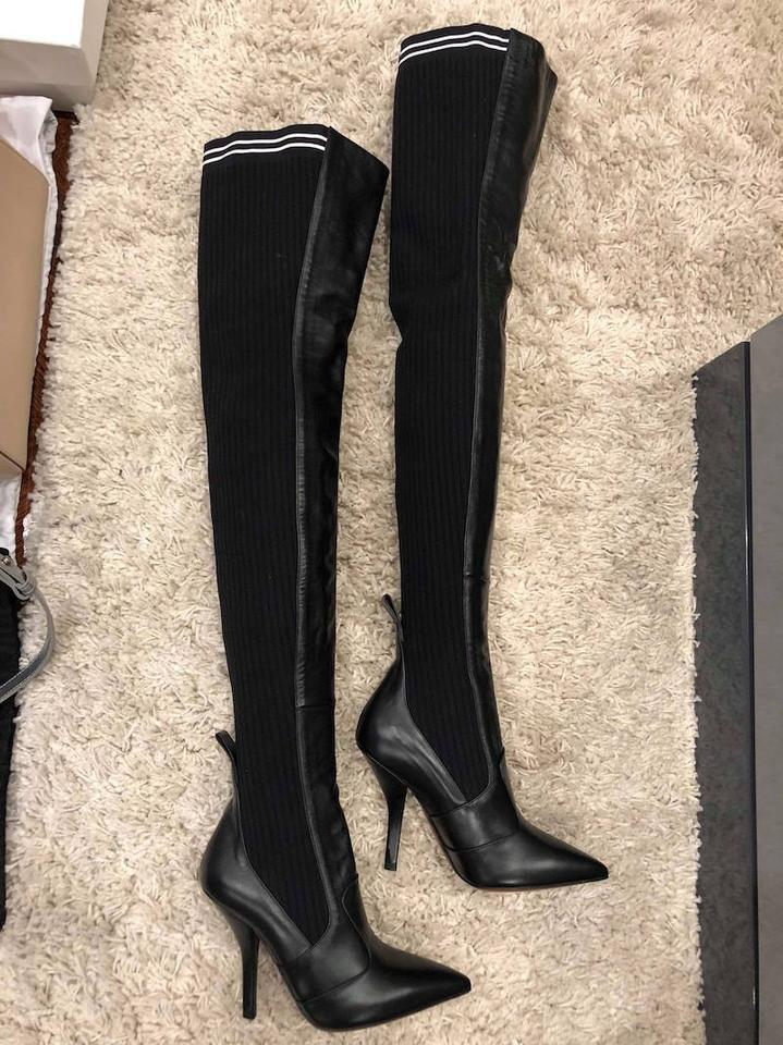 45bc5751a80 Fendi Rockoko Thigh High Otk Over The Knee black Boots Image 11.  123456789101112