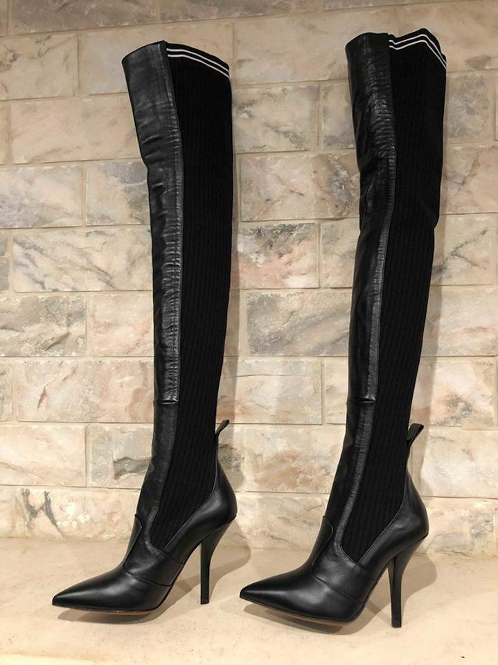 1bc3534141a Fendi Rockoko Thigh High Otk Over The Knee black Boots Image 11.  123456789101112