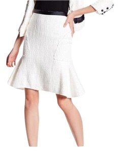 Nanette Lepore Boucle Flounced Hem Skirt White and Black