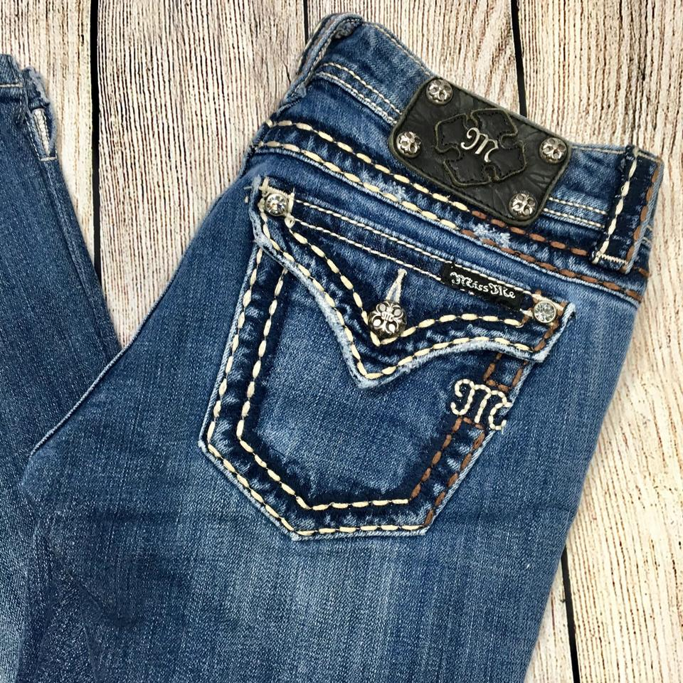 a01fc4e713c Miss Me Blue White Tan Brown Distressed Jps5014-17 Boot Cut Jeans Size 27  (4, S) 54% off retail